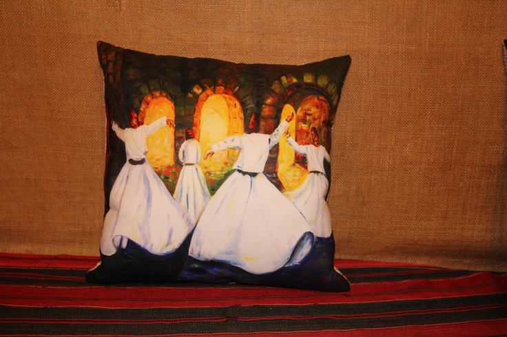 Unique Cushion, Home Decor, Cushion Covers, Spring Summer Decor, Oriental Home Decor, Turkish Home Decor, Semazen, Sufi, Mevlana www.grandbazaarshopping.com