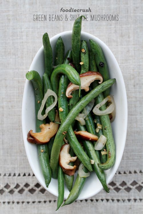 simple and so good: green beans with shiitake mushrooms