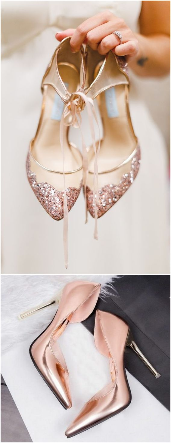 Rose gold wedding shoes / http://www.himisspuff.com/rose-gold-metallic-wedding-color-ideas/