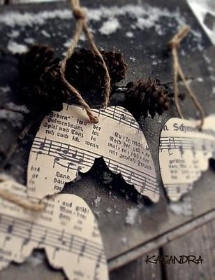 Angel wing ornaments made from sheet music (copies).  Easy Christmas Craft.  Hymnal craft. Christian Craft. Could add Psalm 91:11 11 For he will command his angels concerning you to guard you in all your ways; Scripture craft. Sunday School Crafts. Music craft. Easy Paper Craft.