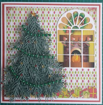 046_S15_Decorated Christmas Tree with Window and Scene. Handmade by Diane Prinsloo (Lubbe).