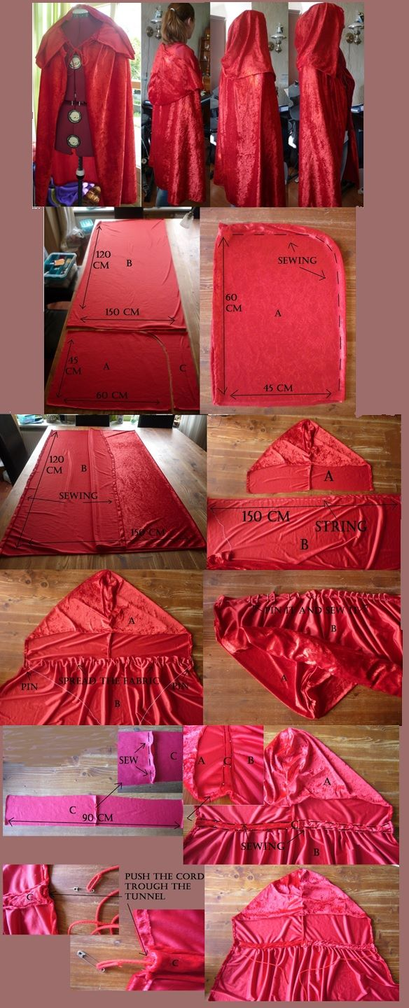 Most basic (and useful) Cape pattern. I usually go for a smaller hood, but with a pattern this simple, it can EASILY be altered.