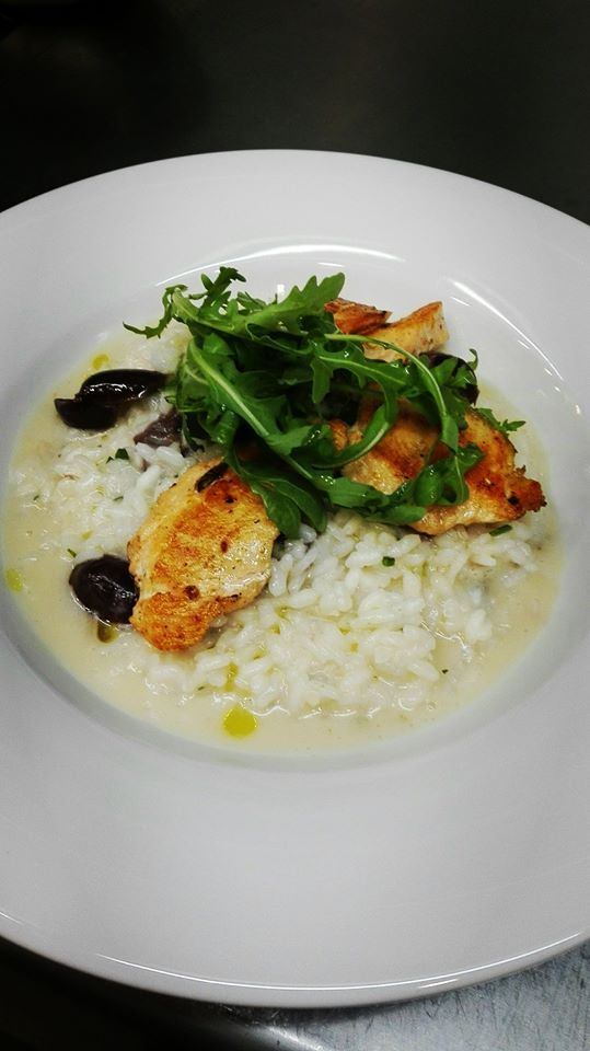 lemon risotto with salmon and olives