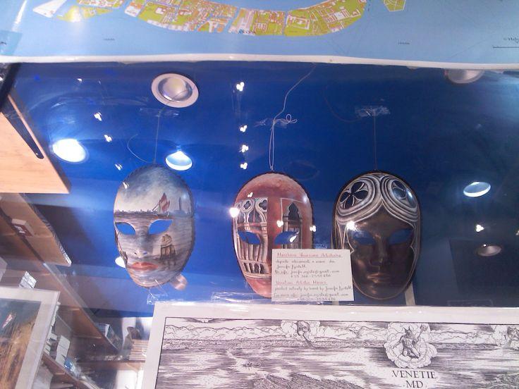 My Venetian Artistic Masks in exhibition at the historical book shop of Franco Filippi in Venice, Italy.   #Venezia #Maschere #Venice #Masks #ArtisticMasks #VenetianMasks #Art #AcrilicPaintings #Carnival #JenniferEgista #HotelCasaPetrarca #BookShopVenice