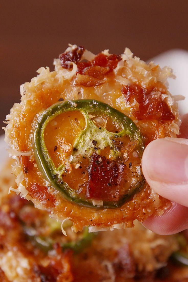 Jalapeño Bacon Cheddar Parmesan Crisps. Serve with cream cheese, sour cream & choice dipping sauce. Yum!!