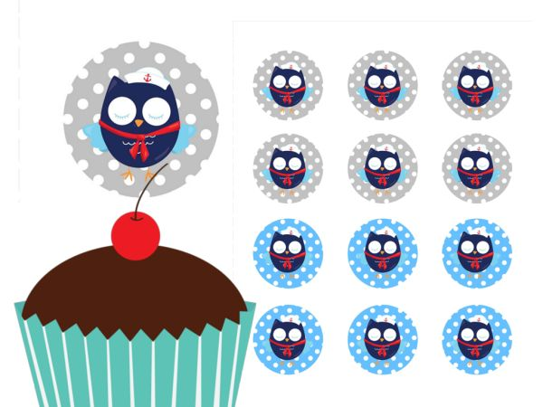 Owl, Sailor, Nautical Cupcake Toppers Printable, Download, Cupcake, Baby Shower Toppers, Birthday Toppers, 2 inch Circle Toppers, Labels