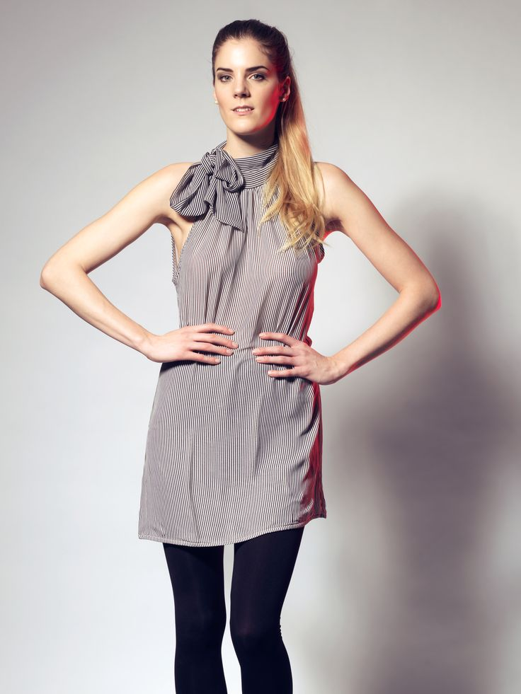 Stripe Bow-Tie Chiffon Dress by LUCA luv' cape town
