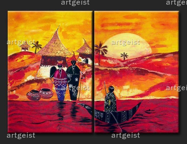 Magia Afryki - obraz ręcznie malowany z pełnym kolorów pejzażem #obrazy #recznie #malowane #tryptyki #dekoracje #ścienne #sztuka #malarstwo #wnętrza #pejzaże