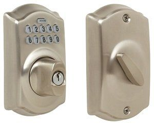 Schlage Camelot Keypad Entry Deadbolt Lock. Keyless entry! Must remember this for when we replace the locks.