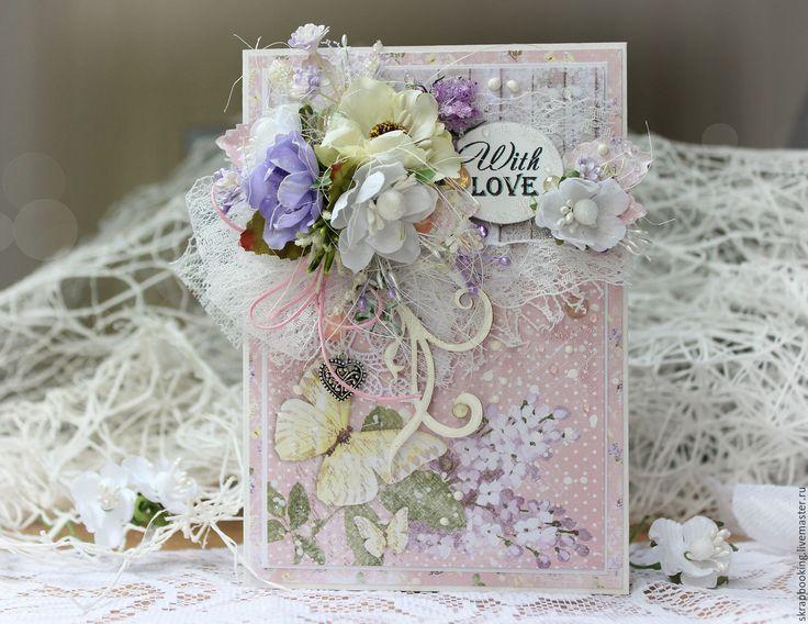 Купить Цветочная открытка With love - бледно-розовый, Скрапбукинг, скрапбукинг открытки