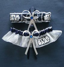Eeeeeeee.... This is awesome! Something blue and nerdy! Love it Star Wars Fabric Jewel Wedding Bridal Garter Set Prom Double Heart Charm