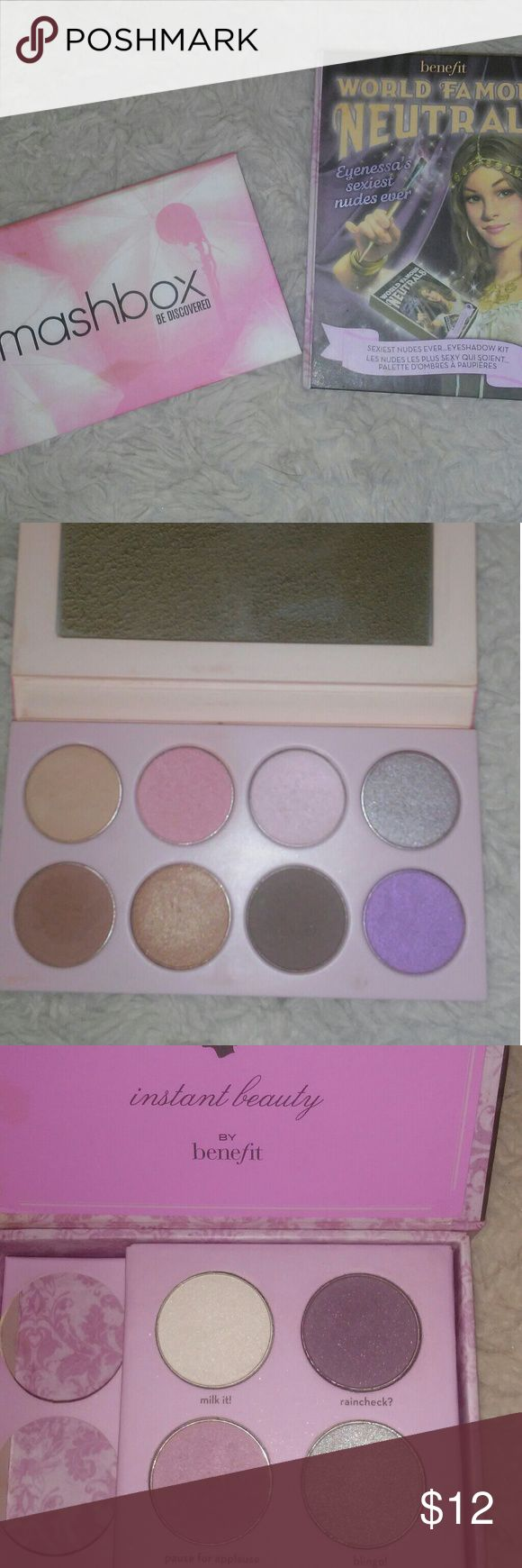 Smashbox & Benefit Eyeshadow Palette Bundle Smashbox & Benefit Eyeshadow Palettes. Great mix of warm and cool shimmers and mattes. Blend well and long wearing. Pretty colors! Benefit Makeup