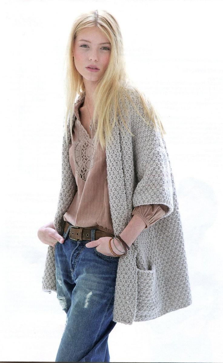 3/4 Sleeves Jacket Knitting Pattern PDF.