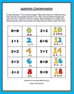 Classroom Freebies: Concentration Game - Addition Facts