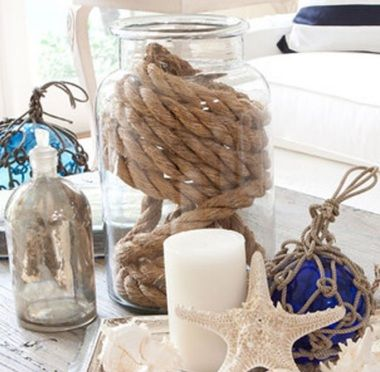 Rope in a jar for instant rustic art: http://www.ourboathouse.com/glass-jar-with-rope/