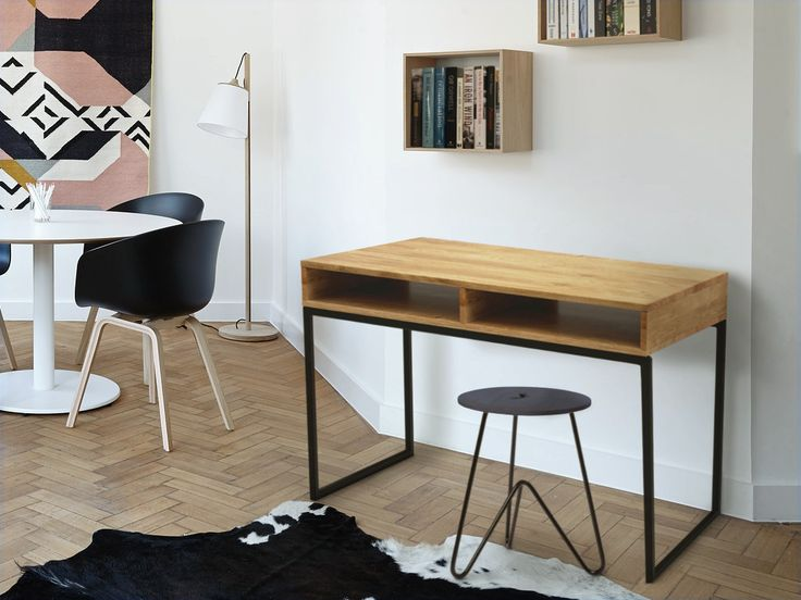 Modern industrial desk made of oak wood and steel. Amazing piece for contemporary home office.