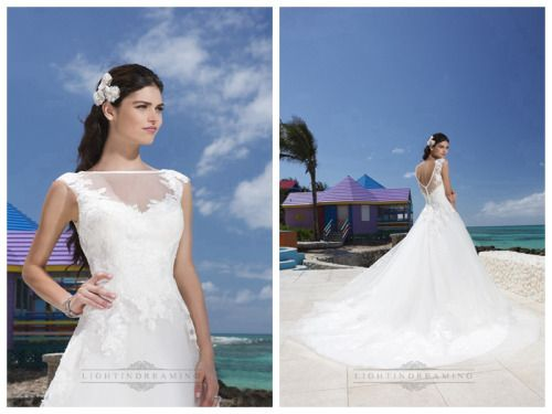 Satin Trim Illusion Sabrina Neckline And Drop Waist Line Tulle Wedding Gown