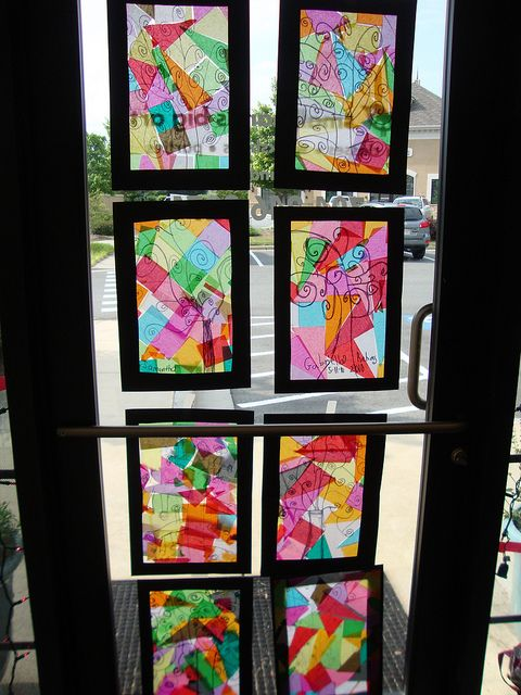 Window art...tissue paper with black. You can use clear contact paper on the black frame, then stick the tissue paper to the contact paper.