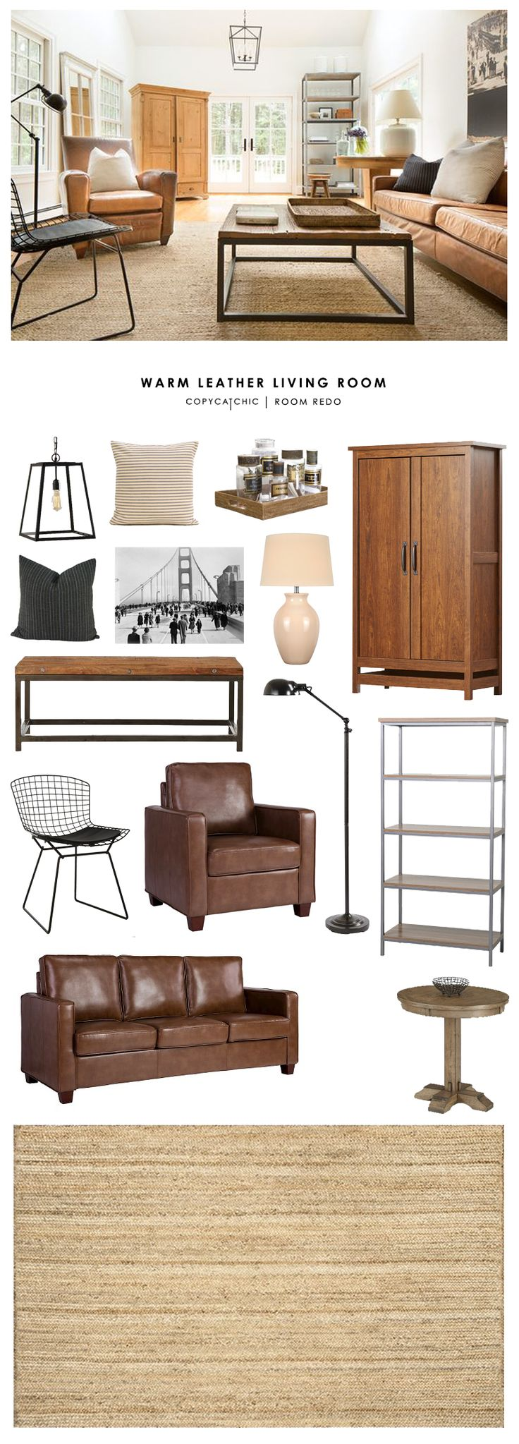 Copy Cat Chic Room Redo | Warm Leather Living Room