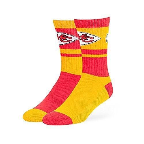 1 Pair NFL Chiefs Socks Football Themed Mismatched Crew Lsize Sports Patterned Team Logo Fan Merchandise Athletic Spirit Gold Red Polyester