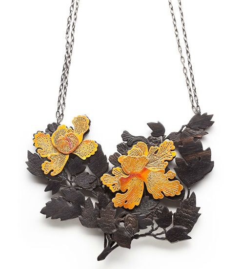 Anne Léger - Chrysanthème 2011 - necklace - carved ebony, silver, golplated silver, enamel