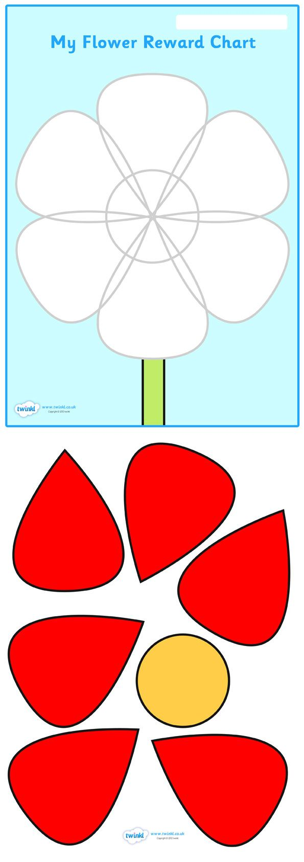 Twinkl Resources >> Flower Petal Reward Chart  >> Thousands of printable primary teaching resources for EYFS, KS1, KS2 and beyond! flower reward chart, flower petals reward chart, complete the flower, reward chart, chart, complete,