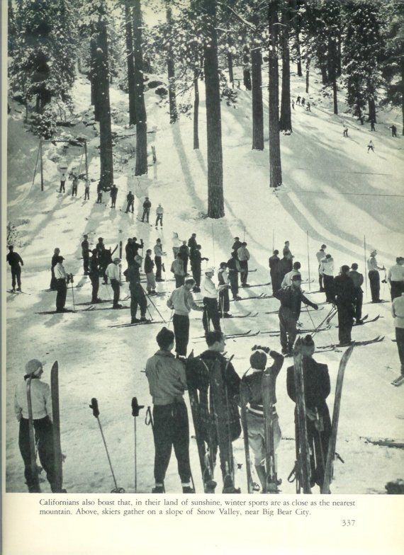 1940s Vintage Photograph - Snow Valley Skiing