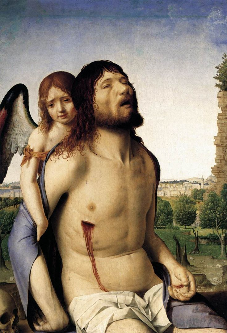 ANTONELLO da Messina The Dead Christ Supported by an Angel 1475-78 Oil on panel, 74 x 51 cm Museo del Prado, Madrid