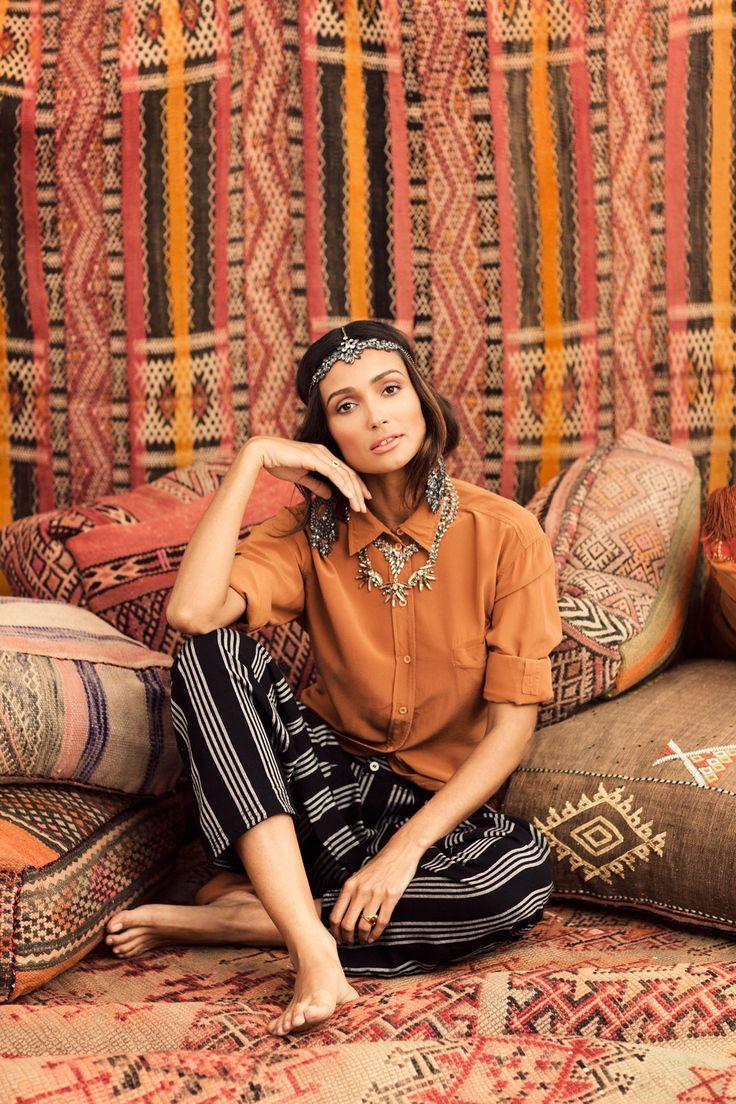 Harem Pants...Alice + Olivia Shirt, Jewelry by Satya and BCBG Headpiece ... Gorgeous
