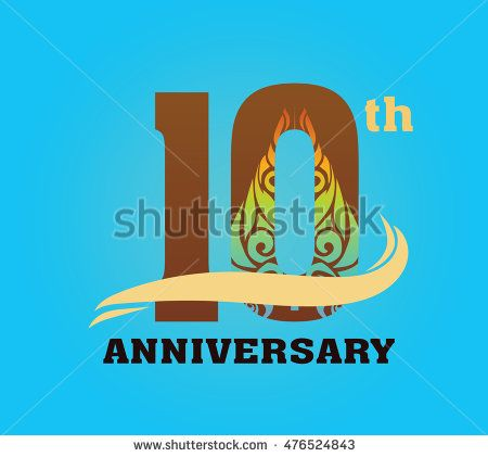 anniversary logo with javanese shadow puppet pattern 10th