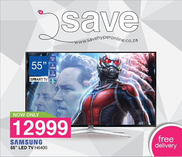 "Get the ‪#‎Samsung‬ #55"" ‪#‎smart‬ ‪#‎led‬ ‪#‎tv‬ today at ‪#‎savehyperonline‬ for an unbeatable R12999. Save on this and many other incredible offers here >>> http://savehyperonline.co.za/"