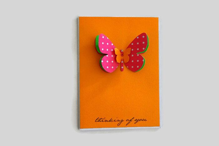 Thinking of you neon orange butterfly handmade card, Friendship blank greeting card with envelope, 3d butterfly best wishes card neon by prettypapernz on Etsy