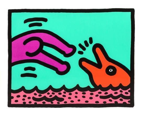 TITOLO: Untitled 1989 MISURE: Cm. 34,30 x 42,00 EDIZIONE: No. 60/200. From the portfolio 'Pop Shop V' series of four prints. Certificate of Authenticity on verso signed by the executor for 'The Keith Haring Estate' Julia Greun and plaque of Martin Lawrence with inventory number.