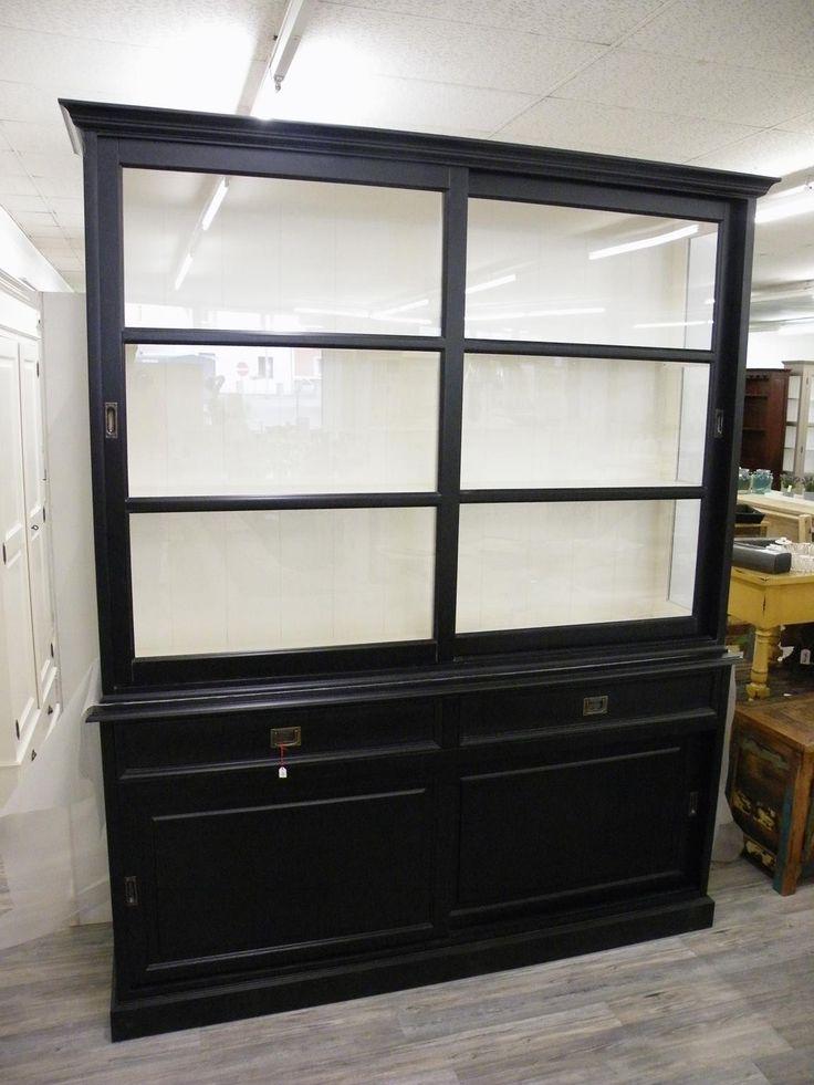 vitrine buffet schrank landhausstil landhaus shabby chic schwarz wei massiv neu musikzimmer. Black Bedroom Furniture Sets. Home Design Ideas