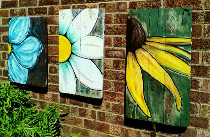 Wall of Flowers! ... painted on reclaimed wood for your garden
