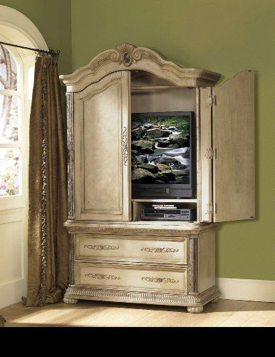 Homelegance Catalina Armoire by Catalina. $1590.96. Brand New from Authorized Homelegance Dealer. Metal Glide. Dovetailed Drawer. Mediterranean styling features classical marble tops and pilasters using cherry and olive ash burls in a decorative parquet pattern. Carved elements such as scallop shells and acanthus leaf carvings are gracefully formed on arched crowns and crest rails. Catalina Collection is available in both white wash finish and cherry finish.