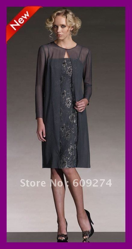 Free Shipping 2012 Spaghetti Long Sleeve Chiffon Lace Knee Length Elegant Mother Of The Bride Dresses Mother Outfits $124.00