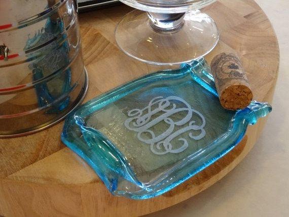 Custom  Monogram Blue Mason Modern Pint Melted Slumped Flattened Flat Ball Mason Jar, Home Decor  Modern spoon rest cheese