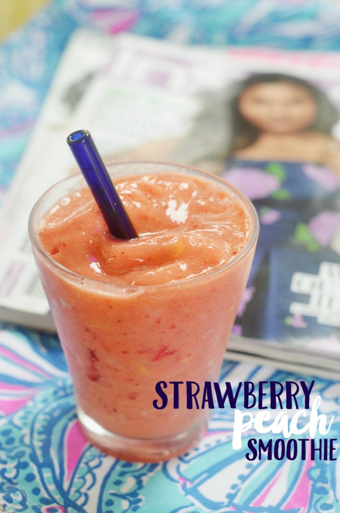 Make a strawberry peach smoothie this summer to relax! Enjoy it by the pool with a good book or a few favorite magazines. #pmedia #Summer4Me #ad