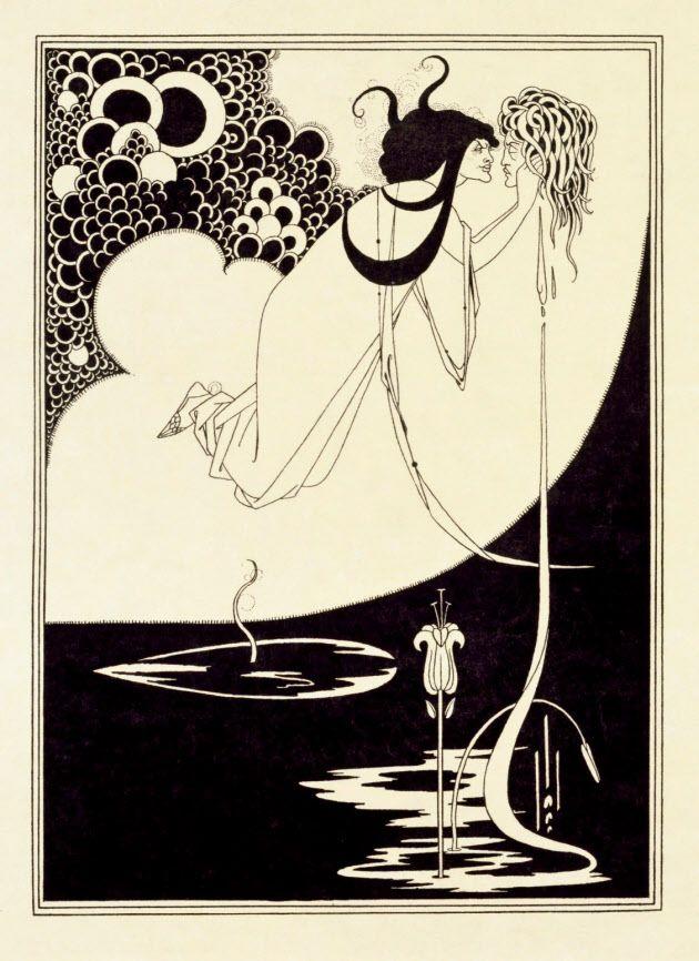 オーブリー・ビアズリー「クライマックス―サロメ」(1907年、初版は1894年、ライン・ブロック、網版、日本製のヴェラム紙、ヴィクトリア・アンド・アルバート博物館蔵))(C)Victoria and Arbert Museum, London