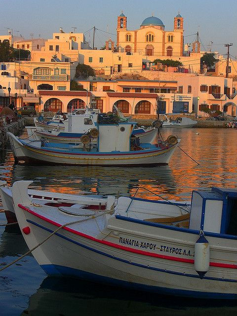 ~ Lipsi harbour in the sunset Dodecanese islands, Greece ~