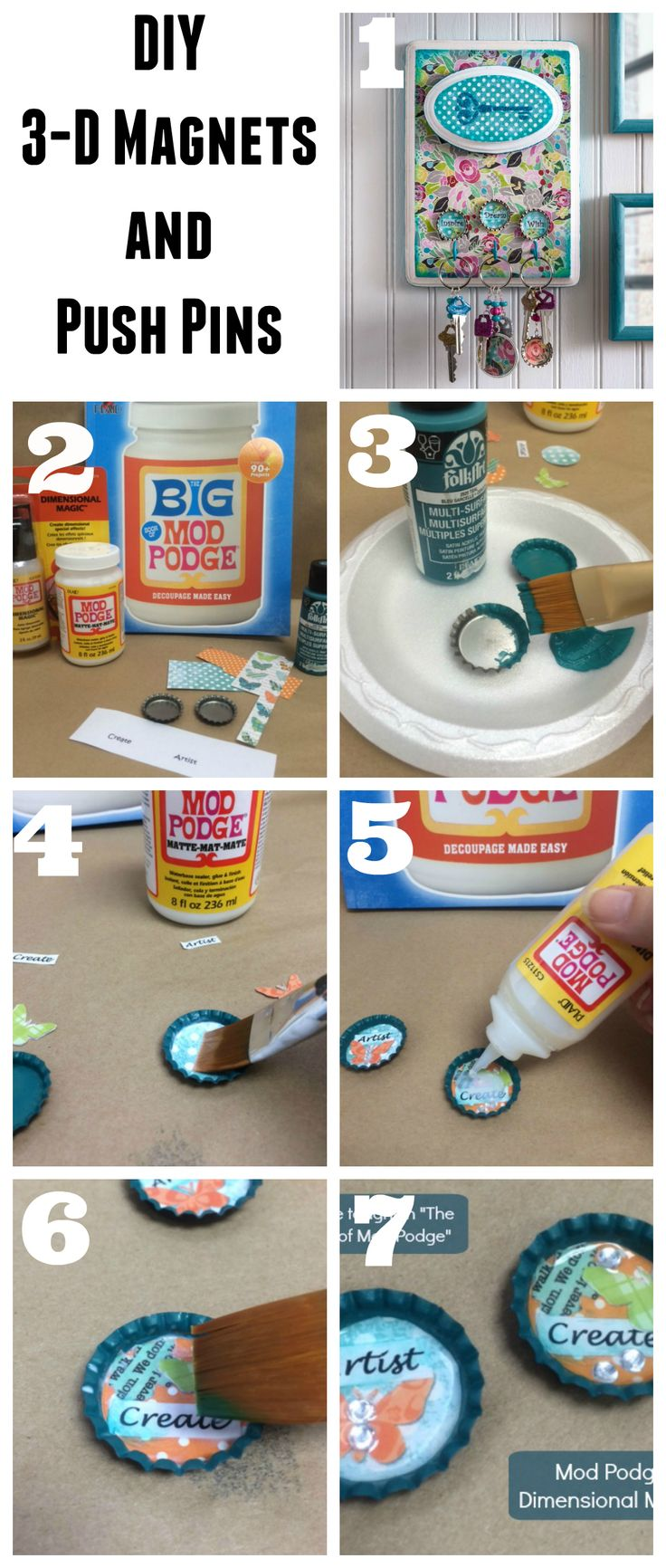 How to make 3-D Magnets and push pins using mod podge dimensional magic. Perfect DIY to craft on your own or with kids!
