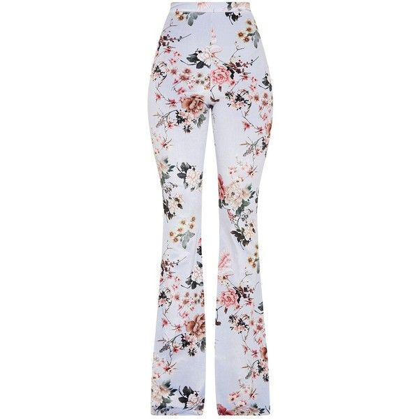 Grey Floral Velvet Flared Trousers ($38) ❤ liked on Polyvore featuring pants, gray pants, flare trousers, floral-print pants, floral flare pants and gray trousers