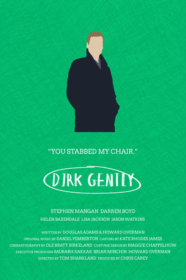 Dirk Gently alternative television poster - 12 x 18 MacDuff edition (Made to order). £10.00, via Etsy.