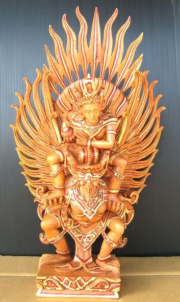 Garuda がるーだ Luxury carved Garuda & Vishnu 《 ジャックフルーツウッド 》印度教中的神鳥迦樓羅