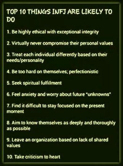 Top 10 Things INFJs Are Likely INFJ Infj personality, Infj, Enfj