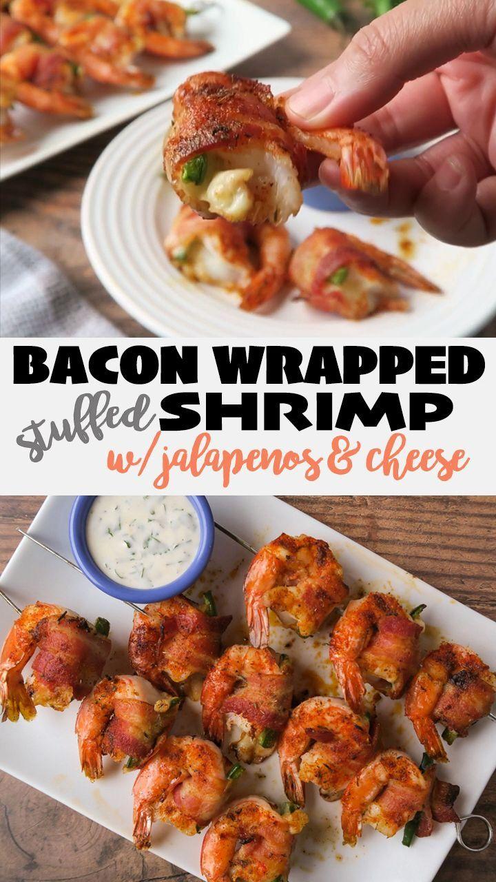 Bacon Wrapped Shrimp Stuffed With Jalapenos Cheese In 2020 Bacon Wrapped Shrimp Bacon Wrapped Shrimp Recipes