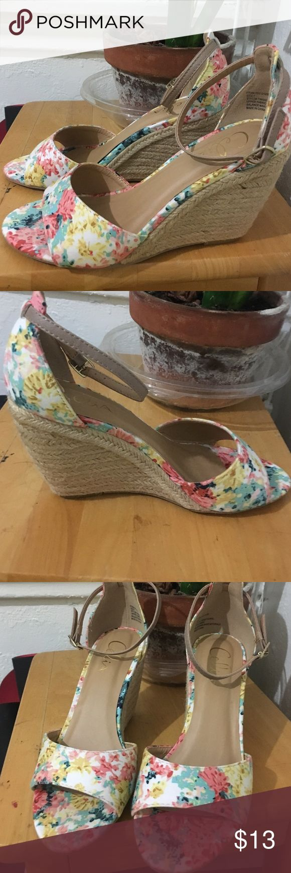 Floral peep toe wedges 🌺🌸 Gorgeous floral wedges !!! Brand new ! Never worn ! With original box! celia Shoes Wedges