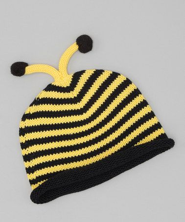 This Yellow & Black Bee Beanie by Nana Knits is perfect! #zulilyfinds