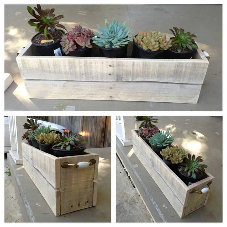 Planter's box made from pallet wood. Made by yours truly :)